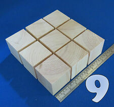 "LOT x 9 CUBES 2.7"" / 70 mm WOODEN BLOCKS BUNDLE SET PINE WOOD NATURAL ECO BRICKS"