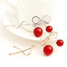 Lovely Women Korean Red Cherry Shaped Gold Bow Hairpin Twist Hair Clip Headdress