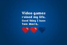 A4 Poster - Video Games Ruined My Life (Funny Picture Poster Hearts Word Art)