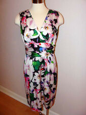 NWT $154 RALPH LAUREN FLORAL PRINT SATIN SHEATH PARTY COCKTAIL DRESS Sz 10
