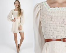Vintage 70s Boho Hippie Dress Wedding Party Cream Embroidered Eyelet Floral Mini