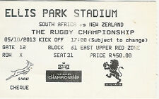 South Africa v New Zealand 5 Oct 2013 Ellis Park, Joburg  RUGBY TICKET