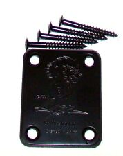 BLACK NECK PLATE & SCREWS FOR FENDER® STRAT®, TELE® & SIMILAR GUITARS & BASSES