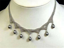 Charming!7-9MM Black Akoya pearl pendant necklace AAA