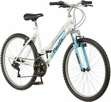 26 Inch Women's Mountain Bike 18 Speed White and Blue Bicycle