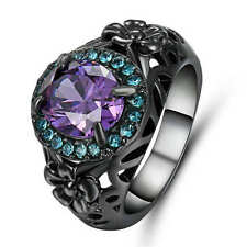 Jewelry Size 6 Purple Amethyst black Rhodium Plated Mens Wedding  Ring