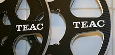 "2 X TEAC BLACK LOOK SIX SPOKE METAL HUB REEL TO REEL 10.5"" X 1/4""  CARBON FIBER"
