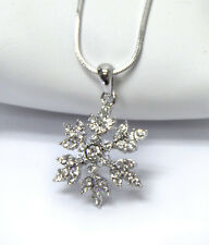 SNOWFLAKE WhiteGold Plated Crystal Snow Flake Wedding Holiday Charm Necklace