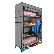 "69"" Portable Closet Storage Organizer Clothes Wardrobe Shoe Rack Shelves Grey OB"