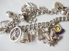 Vintage Sterling Silver Fully Loaded  Double Link Charm Bracelet