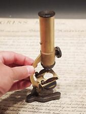 "7"" Antique Vintage Style, Small Brass Field & Desktop Microscope"