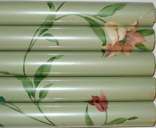 BEACON HOUSE FLORAL PRINT WALLPAPER LIGHT SAGE GREEN FIVE SEALED ROLLS 280 Sq Ft