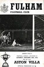 Football Programme FULHAM v ASTON VILLA Nov 1970