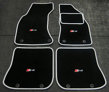 "Deluxe Car Mats in Black/Silver to fit Audi S4 B5 (1997-2002) + ""S4"" Logos (x4)"