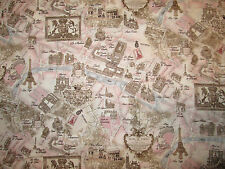 VINTAGE PARIS LAND MARK MAP FRENCH PINK COTTON FABRIC FQ