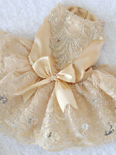 HOT Clothing For Dogs Pet Dog Clothes Lace Bow Wedding Dog Dress Champagne M