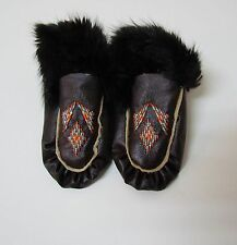 BROWN NATIVE AMERICAN FUR TRIM MOCCASIN,  5 1/2 INCHES, YOUTH