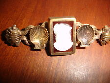Victorian-Edwardian Gold Plated Stick Pin with Cameo - Shell Motif