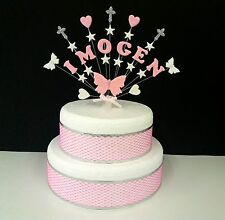 Butterfly, heart,  star holy communion or christening cake topper, personalised