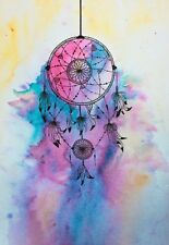 DREAM CATCHER WATERCOLOUR IMAGE  A4 poster Print laminated BUY ANY 2 GET 1 FREE