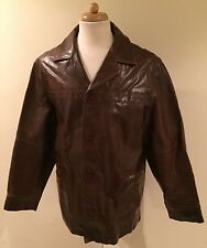 Rare VTG WILSONS M JULIAN Distressed Brown Leather Car Coat Long Barn Jacket L