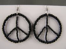 Black beaded Peace Sign hoop earrings seed bead dangle hoops lightweight