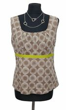 BODEN Top Size 12 Brown White Cotton Sleeveless Boho Summer Holiday Casual