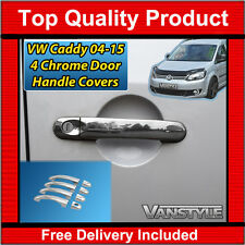 VW CADDY 04-15 STAINLESS STEEL CHROME 4 DOOR HANDLE COVER SET MAXI VAN POLISHED