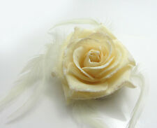 1X  Flower Feather Prom Wrist Corsage Hair Clip Fascinator Pin Brooch Milk White