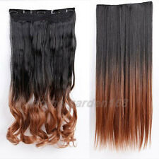 """100% Real Thick 200g 17-30"""" Clip in Hair Extensions Full Head Wavy Straight O89"""