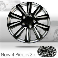 New 15 inch Hubcaps Black Rim Wheel Covers Hub Cap Full Lug Skin Set 546