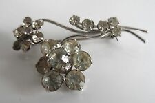 Vintage 40/50s Diamante Floral Style Old Time Glamour Brooch