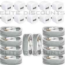 10 Charging/Sync Cable Cords + 10 1A USB Wall Chargers For iPhone 6 6S 6Plus 5S