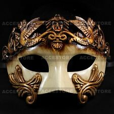 Roman Greek Emperor Men's Masquerade Venetian Half Face Party Mask - Gold White
