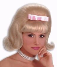 Womens Bouffant Wig 50s Blonde Hair Rockabilly Flip Pink Bow Rocker Grease Adult