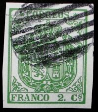 Ccf V 32A. m. ed used , Escudo 1854, 2 cu. verde. see GOOD papel grueso, defect