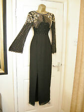 6 VIRGOS LOUNGE BLACK DRESS LONG SLEEVE BEAD + SEQUIN BOLLYWOOD VINTAGE GATSBY