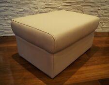 Beige Echtleder Hocker aufklappbar mit Stauraum Sitzhocker Sitzwürfel 75x55