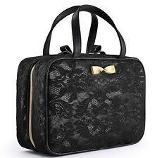 Victorias Secret Makup Bag Beauty Case Black Lace Cosmetic Travel NEW