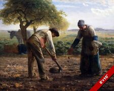 HUMBLE FARMERS IN THEIR FIELD PLANTING POTATOES PAINTING ART REAL CANVAS PRINT