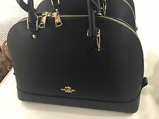 NWT COACH SIGNATURE BLACK  LEATHER SATCHEL BAG HANDBAG PURSE LARGE