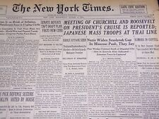 1941 AUGUST 6 NEW YORK TIMES - CHURCHILL AND FDR MEET - NT 1164