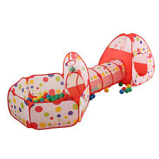 3 In 1 Indoor Children Kids Play Tent Playhouse Tents Tunnel Ball Pit Toy