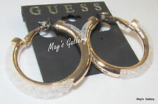 GUESS  Jeans Ring Earring  Earrings Hoop Gold Tone Big Charms  Charm NWT
