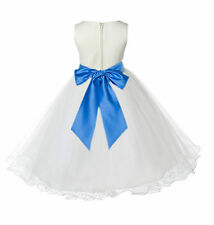 IVORY WEDDING BRIDESMAID FORMAL GOWN FLOWER GIRL DRESS TULLE 12M 2 3 4 6 8 10 12