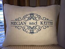 Personalized Monogrammed Burlap Pillow for Home Decor, Wedding, Anniversary