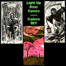 Spooky Gothic LED LIGHT UP DOOR COVER WALL MURAL-Halloween Decoration-3piece SET
