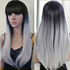 Fashion Long Straight Wavy Hair Nature Black Ombre Silver Grey Wig Costume Wig