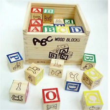 48 pcs Letters ABC Wood Block Kids Educational Teach Building Wooden Blocks Toy