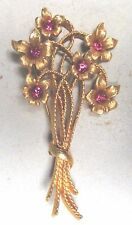 Vintage 50's Flower Glass Crystal Rhinestone Pin Brooch Pink Signed Mamselle